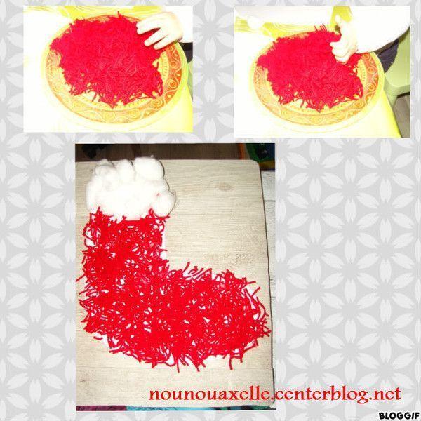 Botte de Noël en coton et laine