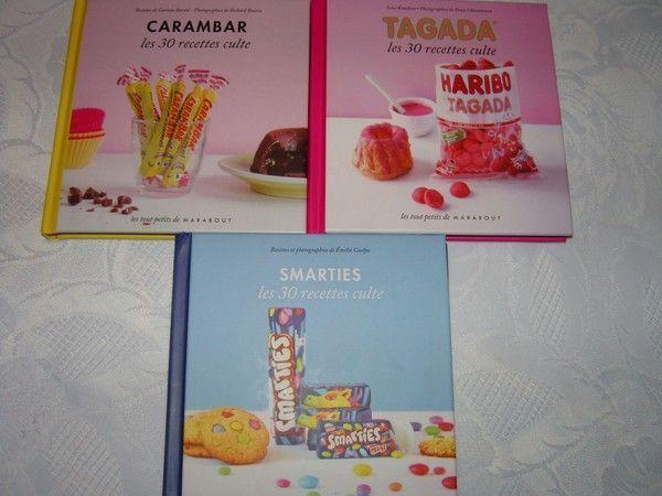 Livres de recettes avec des bonbons
