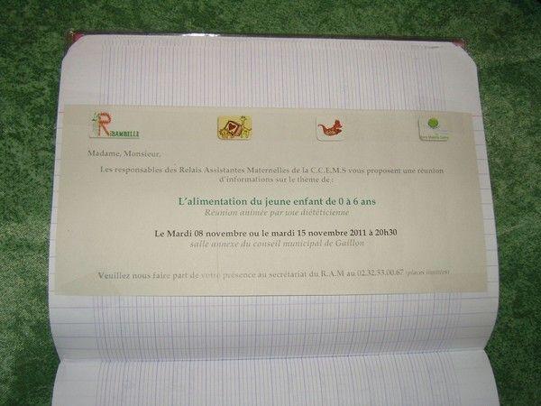 Cahier de liaison : information