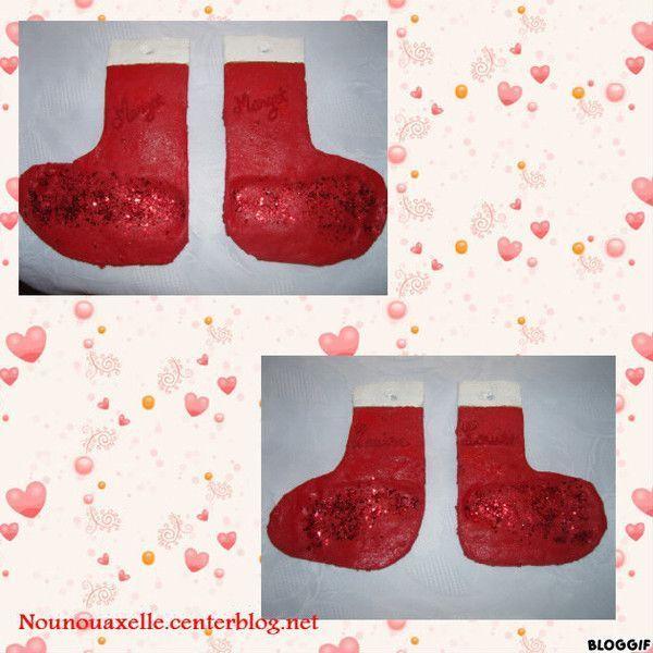 Bottes en pâte à sel empreintes de pieds